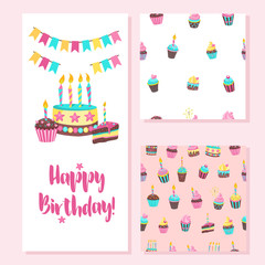 Happy birthday greeting card. Two seamless patterns.  Lovely birthday Cakes with candles. For printing on textiles, paper. For packing gifts and sweets. To decorate a fun holiday. © katedemian