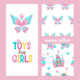 Seamless Patterns Greeting Card  A Beautiful Butterfly Toys For Girls Pink Fairy Castle Pink Pony Princess Dress Diamonds Wall Sticker