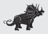 Dinosaur Silhouette On   Black And  Triceratops Tattoo Style Wall Sticker