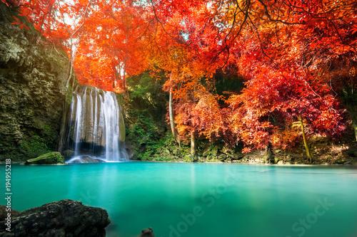 Zadziwiająca siklawa w kolorowym jesień lesie