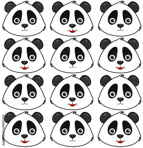 Fototapeta pattern panda, blackground.