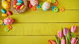 Colorful Easter still life with eggs and flowers