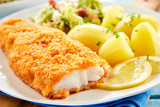 Crispy breaded fish with potatoes in close up