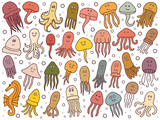 hand drawn set with jellyfish and octopus