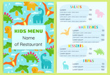 Kid's Menu  Dinosaurs Design  Template Wall Sticker