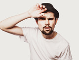 Portrait of surprised bearded man  against white  background - 194963630