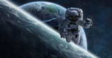Astronaut floating in space 3D rendering elements of this image furnished by NASA - 194964239