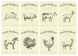 Labels with farm animals. Set templates price tags for shops and markets of organic food. Vector retro illustration art. Hand drawn animals.