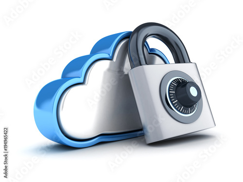 Fototapeta Abstract cloud storage and lock