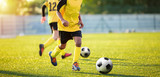Football Training on the Pitch. Boys on Soccer Training Session. Kids Footballers Running the Ball. Soccer Grass Pitch on a Sunny Day. Football Stadium Background
