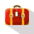Retro Red Vector Suitcase Isolated on White Background.
