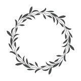 vector hand drawn floral wreath, round frame with leaves, decorative design element, illustration - 194966809