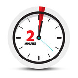 Two Minutes Clock Symbol  2 Minute  Icon Wall Sticker
