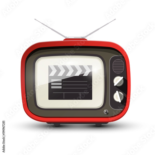 Vintage TV with Film Clap on Screen. Vector Retro Television Icon.