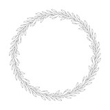 vector hand drawn floral wreath, round frame with leaves, decorative design element, illustration - 194967628
