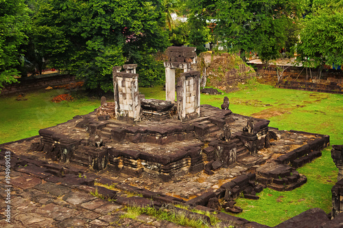 View from pyramid, Bakong temple, Roluos Group, Siem Reap, Cambodia