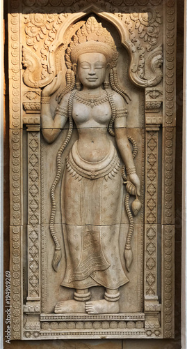 Cambodian Art or Khmer Art Stone Carving.