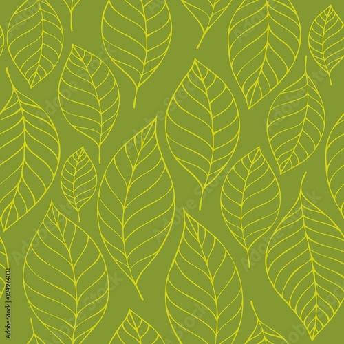Foto op Canvas Voor kinderen Leafy seamless background 6