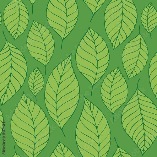 Foto op Canvas Voor kinderen Leafy seamless background 8