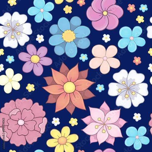 Foto op Canvas Voor kinderen Seamless background flower theme 6