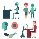 Artificial Intelligence Set  Robot As Companion Friend Android Head Cyborg Playing Chess Working On Computer Shaking Hands  Human Cartoon  Illustration    Wall Sticker