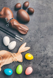 Variety of Easter decoration on a rustic background - 194979000