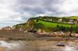 Felsenküste an der englischen Meerseite von Devon. Es ist Ebbe. Boote liegen auf Sand.