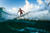 Surfer rides the wave. Extreme sport and active lifestyle concept - 194979653
