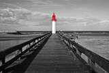 Trouville lighthouse, red selective color, Normandy, France - 194980428