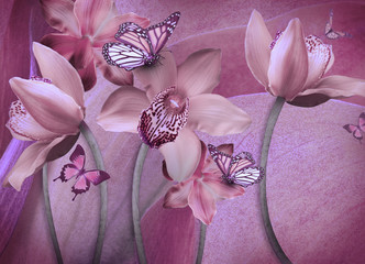 Floral background of orchids, bright flowers on a gray. Applied a filter with grain.