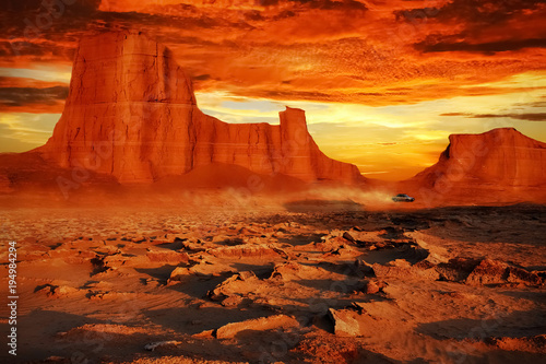 Foto op Canvas Rood traf. Desert landscape in red tones. Beautiful sunset in the desert of Iran. The nature of Persia.