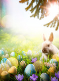 Art Easter background; Spring flowers  easter bunny and easter eggs - 194984624