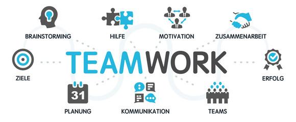 TEAMWORK Zusammenarbeit Vektor Grafik Icons Priktogramme