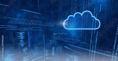 cloud icon with blue technology matrix background