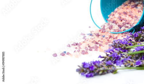 Lavender flowers and bath salt for aromatic spa