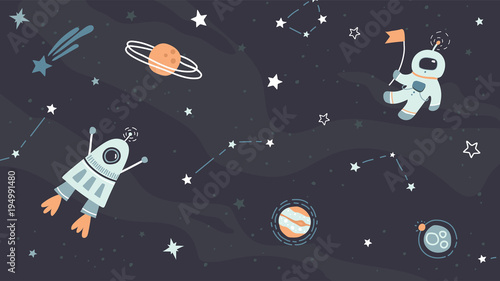vector childish hand drawn flat space design background cute