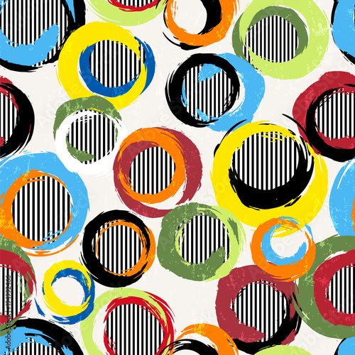 Fotobehang Abstract met Penseelstreken seamless background pattern, with circles, stripes, strokes and splashes