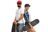 Male Skater And A Female Skater  Their Backs Against Each Other Wall Sticker