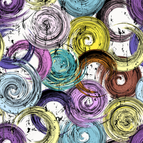 Fotobehang Abstract met Penseelstreken seamless background pattern, with circles, strokes and splashes, grungy