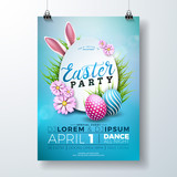 Vector Easter Party Flyer Illustration with painted eggs, rabbit ears and typography elements on nature blue background. Spring holiday celebration poster design template.