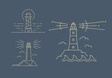 Lighthouse logotype. Line icons - 194998450