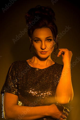 Fotobehang Kapsalon Lovely adult brunette girl with beautiful hairstyle posing