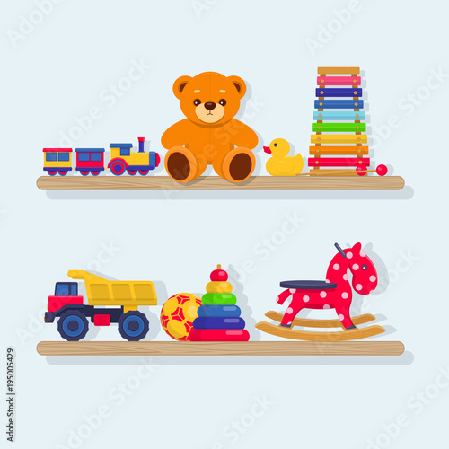 Set of different kids toys on wooden shelves on a white background. Vector illustration