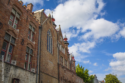 Deurstickers Brugge Architecture of historical city of Bruges, Belgium