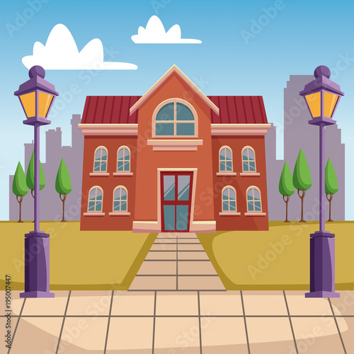 High school building cartoon vector illustration graphic design