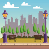 Park with cityscape vector illustration graphic design