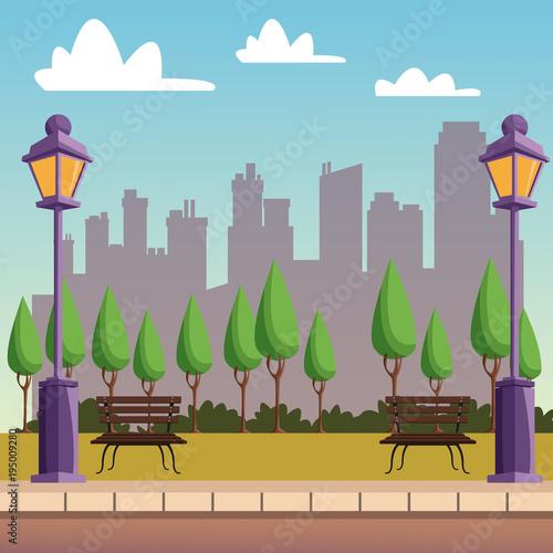 Park with cityscape vector illustration graphic design