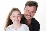 smiling new family single divorce father with teenager daughter smile and love - 195015045