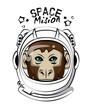 Cool monkey on astronaut helmet vector clothing design