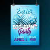 Vector Easter Party Flyer Illustration with painted eggs and typography elements on blue background. Spring holiday celebration poster design template. - 195022401